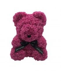 Μεγάλο Αρκουδάκι Από Τεχνητά Τριαντάφυλλα Rose Bear Φούξια