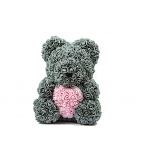 Μεγάλο Αρκουδάκι Από Τεχνητά Τριαντάφυλλα Rose Bear Γκρι Με Ροζ Καρδιά