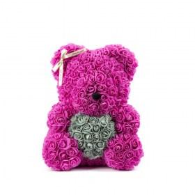 Μεγάλο Αρκουδάκι Από Τεχνητά Τριαντάφυλλα Rose Bear Φούξια Με Γκρι Καρδιά