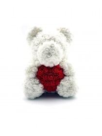 Μεγάλο Αρκουδάκι Από Τεχνητά Τριαντάφυλλα Rose Bear Λευκό Με Κόκκινη Καρδιά