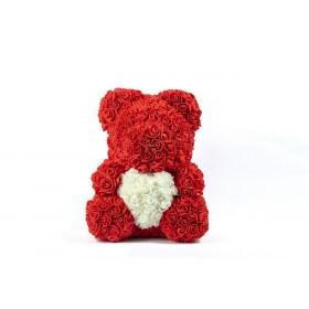 Μεγάλο Αρκουδάκι Από Τεχνητά Τριαντάφυλλα Rose Bear Κόκκινο Με Λευκή Καρδιά