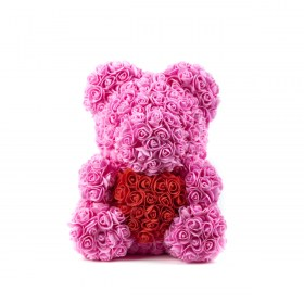 Μεγάλο Αρκουδάκι Από Τεχνητά Τριαντάφυλλα Rose Bear Ροζ Με Κόκκινη Καρδιά