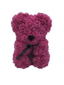 Αρκουδάκι Από Τεχνητά Τριαντάφυλλα Rose Bear Φούξια