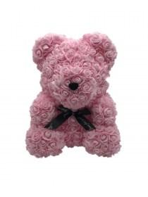 Μεγάλο Αρκουδάκι Από Τεχνητά Τριαντάφυλλα Rose Bear Ροζ
