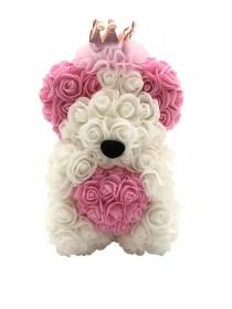 Αρκουδάκι Από Τεχνητά Τριαντάφυλλα  Rose Bear Λευκό Με Ροζ Καρδιά,Ροζ Αυτιά Και Στέμμα
