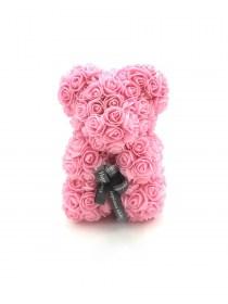 Αρκουδάκι Από Τεχνητά Τριαντάφυλλα  Rose Bear Ροζ