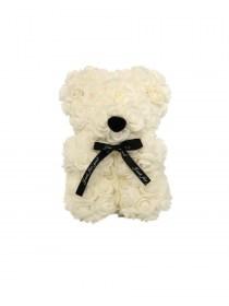 Αρκουδάκι Από Τεχνητά Τριαντάφυλλα  Rose Bear Λευκό