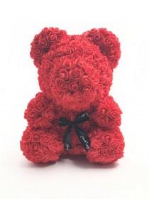 Μεγάλο Αρκουδάκι Από Τεχνητά Τριαντάφυλλα Rose Bear Κόκκινο
