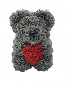 Αρκουδάκι Από Τεχνητά Τριαντάφυλλα Rose Bear Γκρι Με Κόκκινη Καρδιά