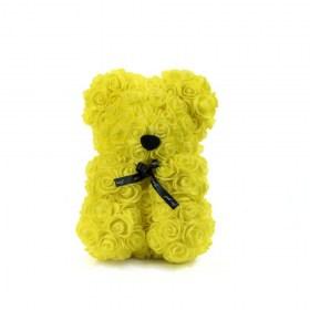 Αρκουδάκι Από Τεχνητά Τριαντάφυλλα  Rose Bear Κίτρινο