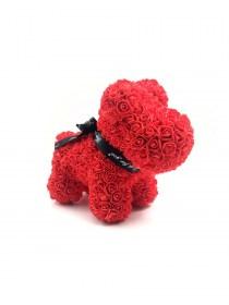 Μεγάλο Αρκουδάκι Από Τεχνητά Τριαντάφυλλα Rose Bear Κόκκινο Puppy