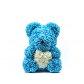 Μεγάλο Αρκουδάκι Από Τεχνητά Τριαντάφυλλα Rose Bear Μπλε Με Λευκή Καρδιά