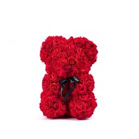Αρκουδάκι Από Τεχνητά Τριαντάφυλλα Rose Bear Κόκκινο