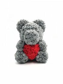 Μεγάλο Αρκουδάκι Από Τεχνητά Τριαντάφυλλα Rose Bear Γκρι Με Κόκκινη Καρδιά