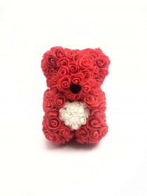 Αρκουδάκι Από Τεχνητά Τριαντάφυλλα  Rose Bear Κόκκινο Με Λευκή Καρδιά