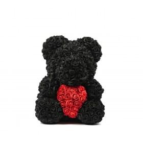 Μεγάλο Αρκουδάκι Από Τεχνητά Τριαντάφυλλα Rose Bear Μαύρο Με Κόκκινη Καρδιά