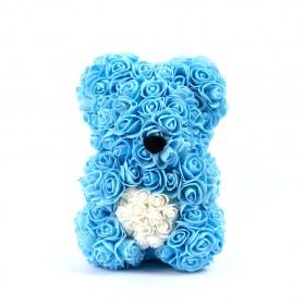 Αρκουδάκι Από Τεχνητά Τριαντάφυλλα Rose Bear Μπλε Με Λευκή Καρδιά