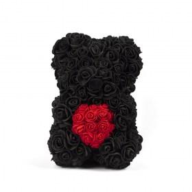 Αρκουδάκι Από Τεχνητά Τριαντάφυλλα Rose Bear Μαύρο Με Κόκκινη Καρδιά