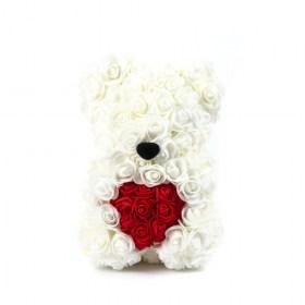 Αρκουδάκι Από Τεχνητά Τριαντάφυλλα Rose Bear Λευκό Με Κόκκινη Καρδιά