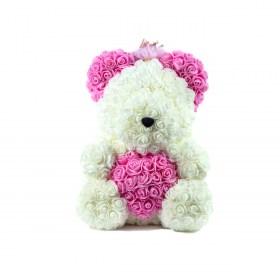 Μεγάλο Αρκουδάκι Από Τεχνητά Τριαντάφυλλα Rose Bear Λευκό Με Ροζ Καρδιά, Ροζ Αυτιά Και Στέμμα