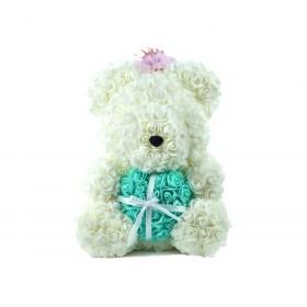 Μεγάλο Αρκουδάκι Από Τεχνητά Τριαντάφυλλα Rose Bear Λευκό Με Πράσινη Καρδιά Και Στέμμα