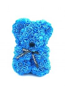 Αρκουδάκι Από Τεχνητά Τριαντάφυλλα  Rose Bear Σιελ