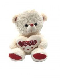 Αρκουδάκι Λούτρινο Εκρού Με Καρδιά
