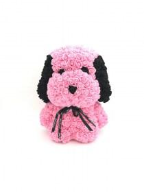 Μεγάλο Αρκουδάκι Από Τεχνητά Τριαντάφυλλα Rose Bear Ροζ Με Μαύρα Αυτιά Snoopy