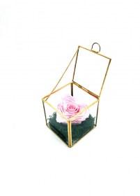 Παντοτινό Τριαντάφυλλο Καρδιά Αποχυμωμένο Σε Χρυσή Γυάλα  Bridal Pink Heart Forever Rose