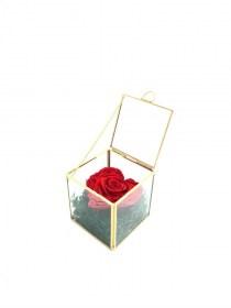 Παντοτινό Τριαντάφυλλο Καρδιά Αποχυμωμένο Σε Χρυσή Γυάλα Red Passion Heart Forever Rose