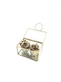 Παντοτινά Τριαντάφυλλα Αποχυμωμένα Σε Χρυσή Γυάλα Golden Forever Rose