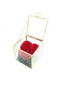Παντοτινά Τριαντάφυλλα Αποχυμωμένα Σε Χρυσή Γυάλα  Red Passion Forever Rose