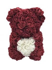 Αρκουδάκι Από Τεχνητά Τριαντάφυλλα Rose Bear Μπορντώ Με Λευκή Καρδιά