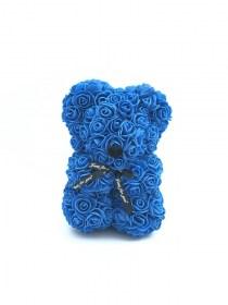 Αρκουδάκι Από Τεχνητά Τριαντάφυλλα  Rose Bear Μπλε