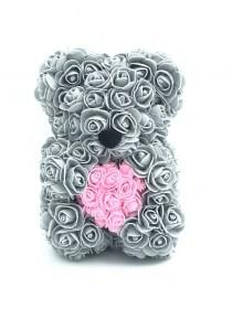 Αρκουδάκι Από Τεχνητά Τριαντάφυλλα  Rose Bear Γκρι Με Ροζ Καρδιά